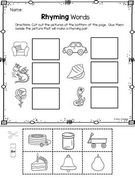 rhyming worksheets cut and paste by kidology by krista