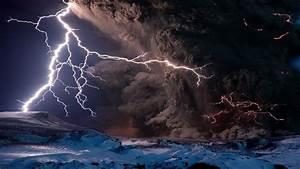 Volcano Eruption Lightning HD desktop wallpaper ...