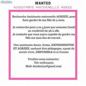 URGENT Recherche Assistante Maternelle AGREEE