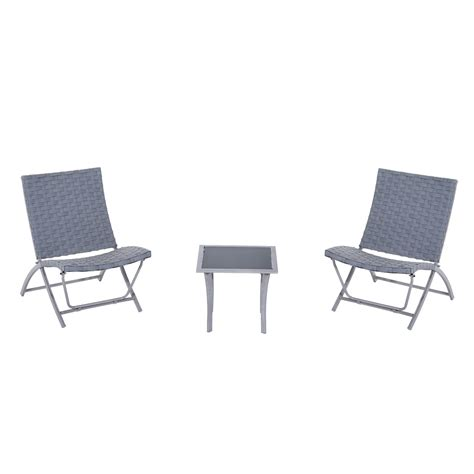 outsunny 3 folding chair and table outdoor rattan