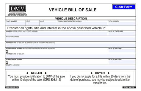 car bill  sale  printable template   bill  sale