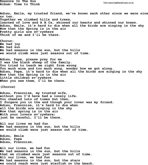 Kingston Trio Song Seasons In The Sun, Lyrics