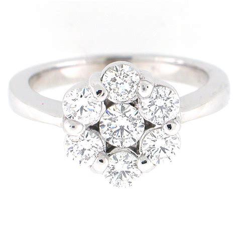 14k white gold diamond flower cluster ring 1 27 carats flower diamond ring ebay