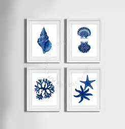 navy blue wall set of 4 decor seashells seaweed and starfish coastal wall