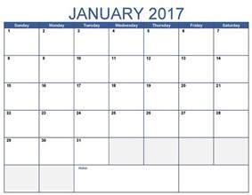 January 2017 Calendar Printable Word