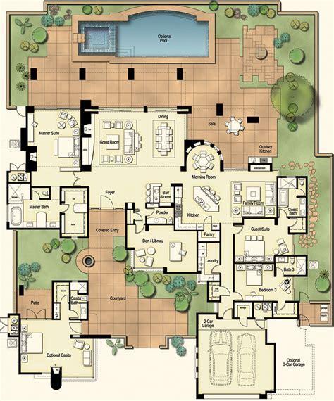 Hometalk   Tucson Custom Home   Hacienda Floor Plan