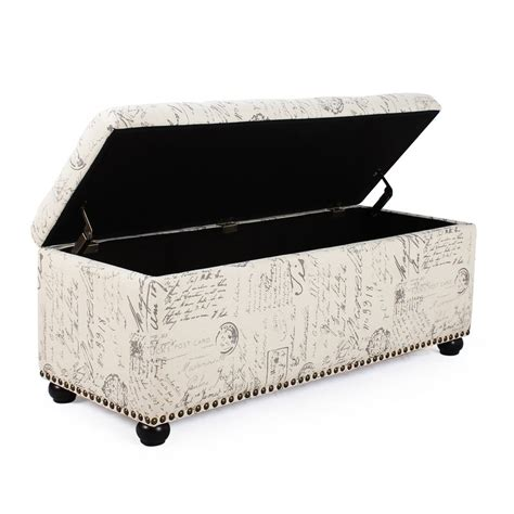 fabric storage ottoman bench adeco white linen fabric storage ottoman bench ft0042