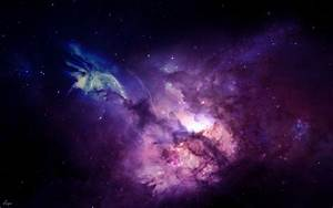 Wallpaper dazzling shining in center of violet nebula free ...