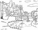 Coloring River Colouring Scenery Scenic Nature sketch template