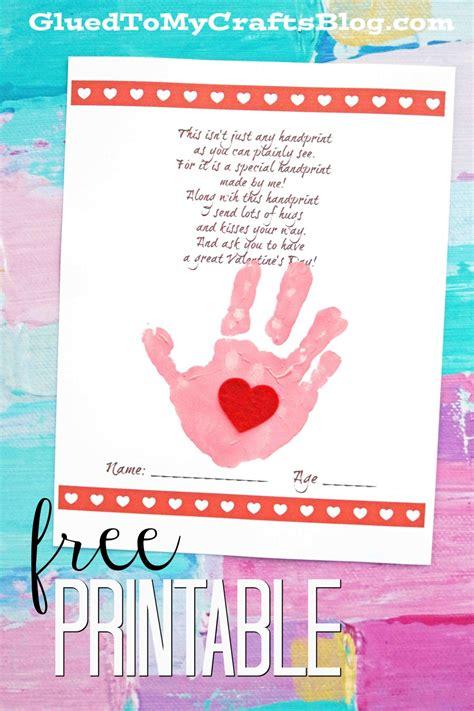 handprint poem keepsake printable glued to my 575 | valentine poem keepsake