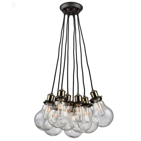 edison 8 light vintage brass chandelier artcraft lighting