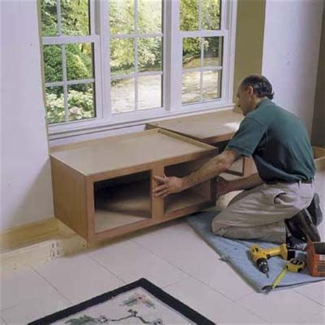 how to make stock cabinets look custom building a window seat using kitchen cabinets