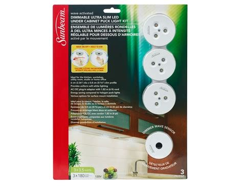 sunbeam dimmable led cabinet puck light kit wave