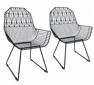 Chaise De Jardin Metal : lot 2 chaises de jardin m tal filaire noir g om trique 279 ~ Dailycaller-alerts.com Idées de Décoration