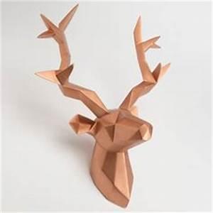 Trophée Animaux Origami : troph e t te de cerf g om trique en papier d coration ~ Teatrodelosmanantiales.com Idées de Décoration