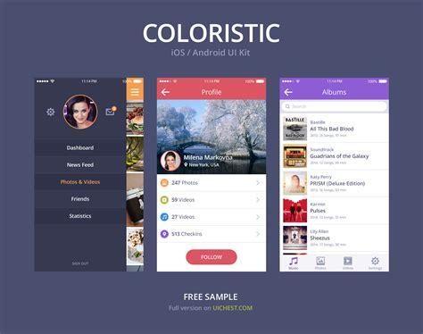 android ui simple colorful ios android ui kit psd psd