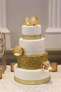 Gold Glamour Wedding Cake - CakeCentral com