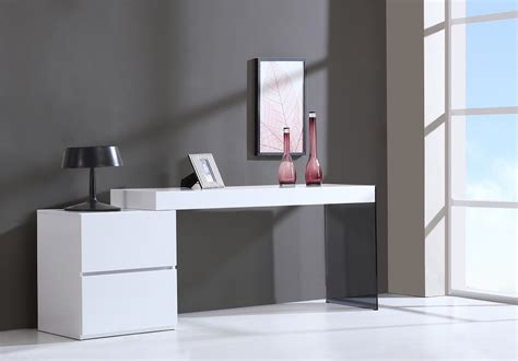 modern white desk with drawers contemporary two drawer white high gloss office desk with
