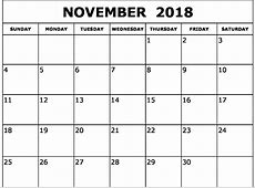 Calendar November 2018 Printable Template – Business