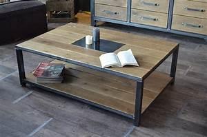 Table Salon Metal : table basse industrielle bois et fer le bois chez vous ~ Teatrodelosmanantiales.com Idées de Décoration
