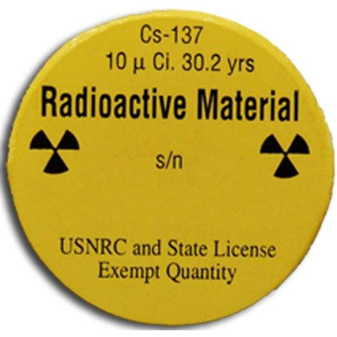 Check Source, Cs137, 10 Microci  Radiation Products