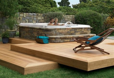 Backyard Deck Ideas With Hot Tub  Pool Design Ideas