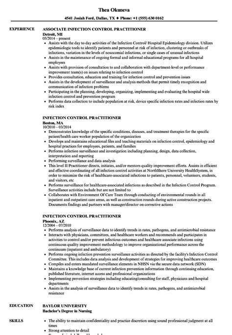 infection control practitioner resume samples velvet jobs