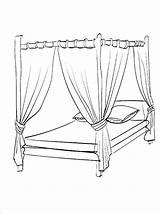 Coloring Bed Canopy Para Cama Bedroom Colorir Drawing Colouring Printable Furniture Dossel Bedtime Getdrawings Desenhos Imprimir Getcolorings Imagem sketch template