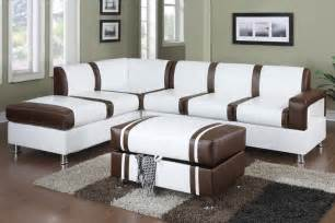 kche creme modern 2 ultra modern two tone faux leather sectional sofa with ottoman brown huntington
