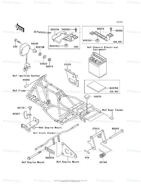 Kawasaki Atv Oem Parts Diagram For Frame Fittings
