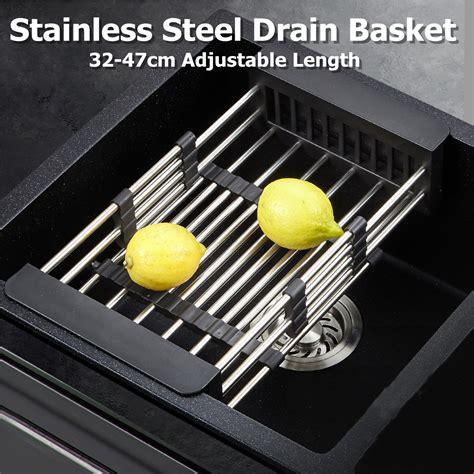 retractable dish drainer rack storage drip tray sink