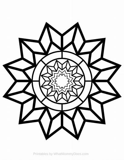 Coloring Adult Printable Star Detailed Pattern