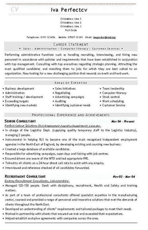 recruitment consultant cv recruitment consultant cv template cvs and resume