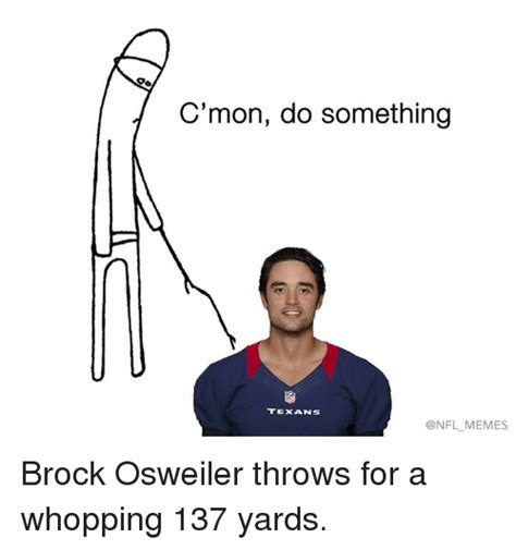Brock Osweiler Memes - c mon do something texans onfl memes brock osweiler throws for a whopping 137 yards nfl meme
