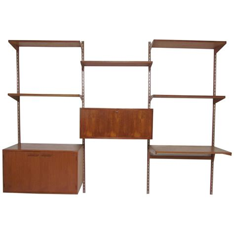 desk and shelving unit mid century modern teak wall mounted shelving unit with