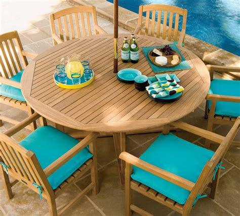oxford garden shorea outdoor teak wood dining table