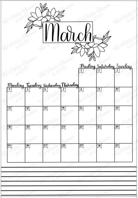 march  printable bullet journal setup  petite planner