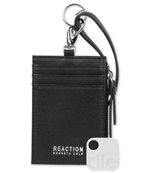 kenneth cole reaction lanyard wallet  tracker  black