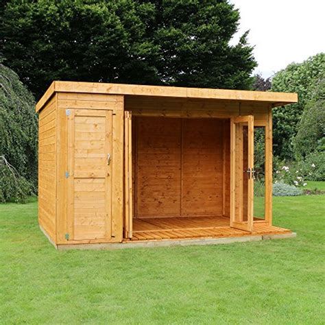side storage shed 12 215 8 t g wooden contemporary summerhouse with side storage