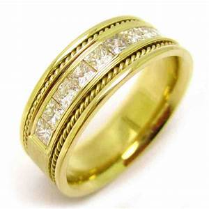 Mens Yellow Gold Wedding Bands With Diamonds Wedding And