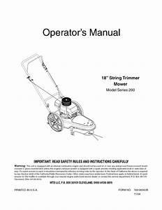Mtd 25a 203l729 User Manual High Wheel Trimmer Mower