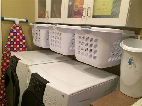 Hanging, Slide-out Laundry Baskets For Sorting In A Small