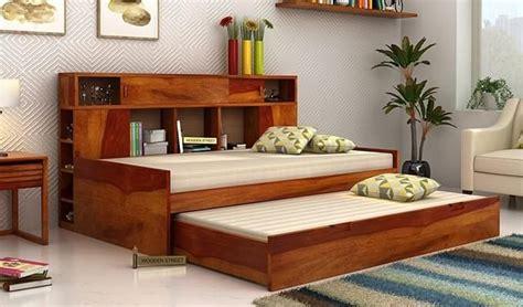 buy adeline sofa cum bed honey finish   india