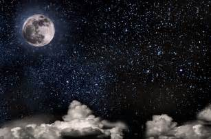 Moon Night Sky with Stars