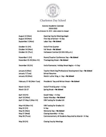 general academic calendar charleston day school