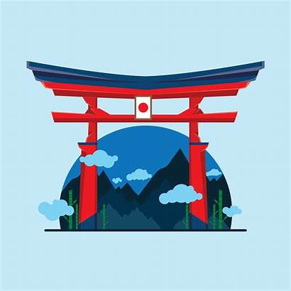 Shrine Vector Japan Decorated Clipart Japanese Icon