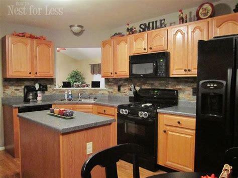 oak cabinets grey countertops laminate kitchen cabinets