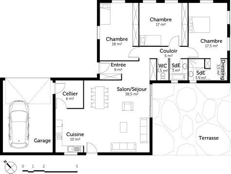 plan maison plain pied 4 chambres garage plan maison plain pied avec 3 chambres et garage ooreka
