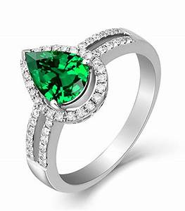 2 carat emerald and diamond halo engagement ring in white for Emerald and diamond wedding ring