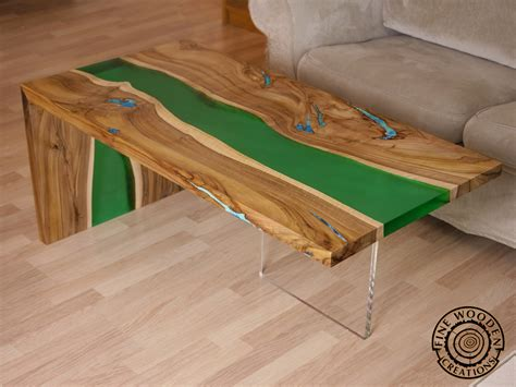 """Live Edge """"green Waterfall"""" River Coffee Table With"""